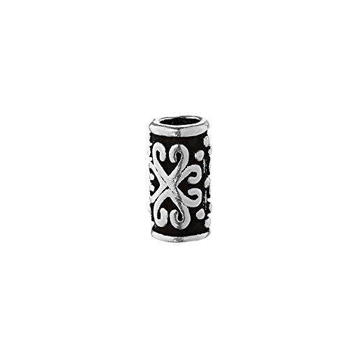 NKlaus SET 2x Bartperle ZARA Mittelalter Perle 925 Sterlingsilber Silber Lockenperle 40495