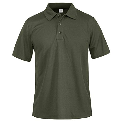 MAGNIVIT Men's Golf Shirts Dry Fit Short-Sleeve Polo Athletic Casual Collared T-Shirt Army Green