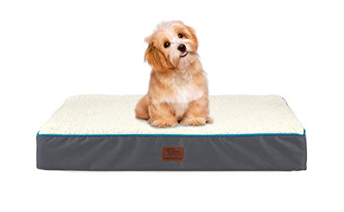 SunStyle Home Orthopedic Foam Dog Bed for Small & Medium Dogs Up to 50lbs with Waterproof Removable Cover, Mattress Pet Mat Bed for Dogs & Cats - Orthopedic Egg Crate Foam Platform, Grey