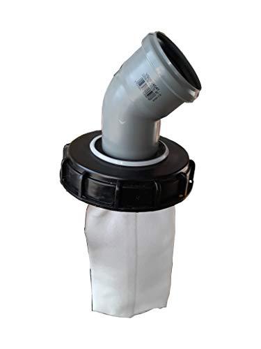 VOXTRADE IBC Deckel Filter NADELFILZ für Regenwassertank IBC 1000 Liter -Top Qualität- (160mm 45 Grad Bogen)