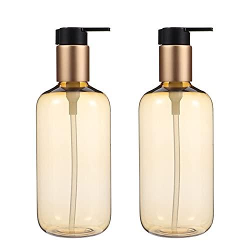 HEHXKJ Dropper fles 2 stks 300ml Draagbare Sub Verpakking Fles Cosmetische Dispenser Lotion Flessen (Farbe: Gouden)