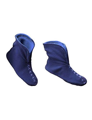 RAIKOU NEU Hausschuhe Damen Herren Hausschuhe Hüttenschuhe aus Micro Fleece mit Rutschfester Sohle, Unisex-Hausschuh Haussocken in schönen kontrastreichen Farben (37/40, Navy/Royal blau)