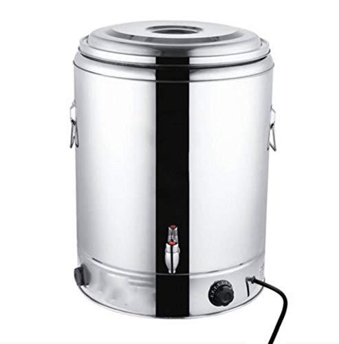 Elektrischer kochender Wassereimer Doppelter Warmwasserbereiter der großen Kapazität, gewerblicher elektrischer kochender Heizungseimer, mit Hahn (Color : Silver, Size : 50L)