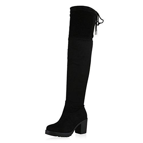 SCARPE VITA Damen Stiefel Overknees Langschaft Boots Blockabsatz High Heels165435 Schwarz 41