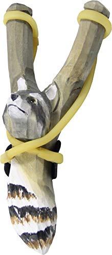 Schleuder Steinschleuder Zwille Waschbär ca. 20 cm die Holzkiste Mittelalter Spielzeug handgeschnitzt …
