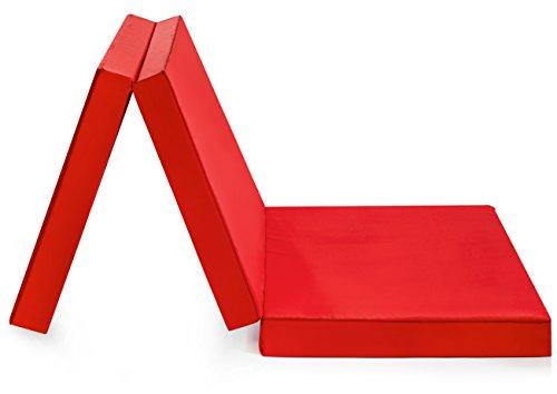 Badenia Trendline faltbare Gästematratze, mit Mikrofaserbezug, 196 x 65 cm Liegefläche, rot