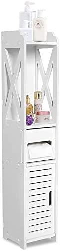 Gototop - Armario estrecho, 80 x 15,5 x 15,5 cm, mueble de dormitorio, mueble de baño, armario de madera blanca, estante de almacenamiento de pañuelos, para sala de estar, cocina, pasillo