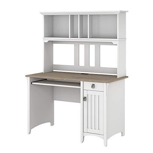 Bush Furniture Salinas Small Computer Desk with Hutch, Pure White and Shiplap Gray