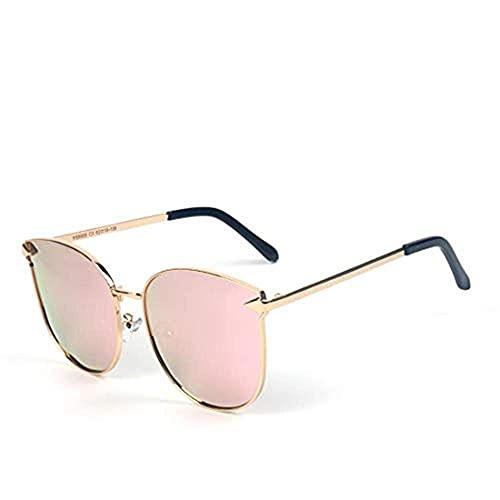 Gafas de Sol de la Moda de la Moda de Las Mujeres de Las Gafas de Gato Gafas de Sol de Las Gafas de Sol polarizadas Modelos Masculinos Arrow Polígono Shade Gafas, (Color : Gold Frame/Pink Lens)