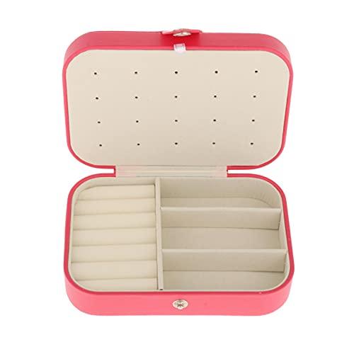 oshhni Mini Caja de joyería de Viaje Organizador de Cuero PU portátil de Doble Capa Caja de Almacenamiento para Anillos Pendientes Collar Pulsera - Rojo melocotón