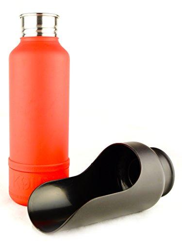 H2O4K9 thermosfles met als drinkschaal bruikbaar deksel, 700 ml, kleur: rescue red