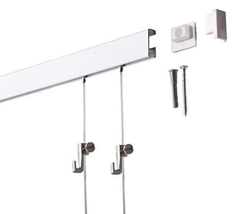 2 Meter SOFT-RAIL® Bilderschienen Set BUDGET, Silber-matt eloxiert, versch. Längen und Farben