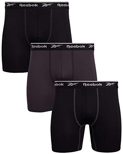 'Reebok Men's Sport Soft Performance Boxer Briefs (3 Pack) (Black/Cold Grey/Black, Medium)'