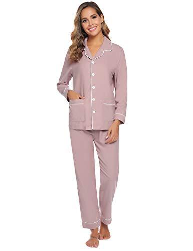 Aibrou Pijama Mujer Dos Piezas Botón Algodón Camiseta