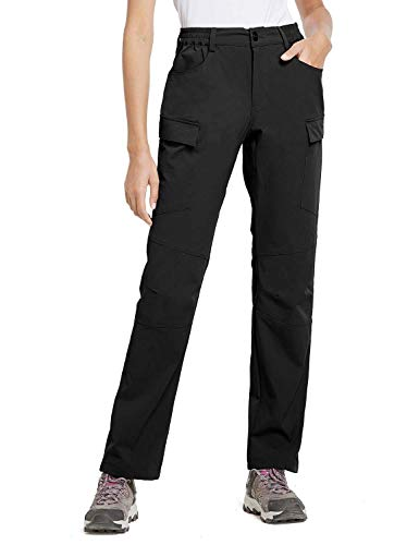 BALEAF Women's Hiking Cargo Pants UPF 50 Outdoor Athletic Stretch Pants Water Resistant Zipper Pockets Black L