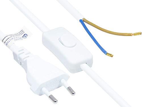 Good Connections EURO-Netzkabel - 1,5 m - Euro-Stecker Typ C (gerade) an abisolierte Enden - STROMKABEL mit SCHALTER - zum Konfektionieren - KUPFERLEITER - Adernquerschnitt: 0,75 mm² - WEISS