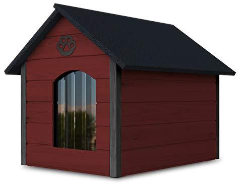 Hundehaus aus Holz mit isolierten Wänden, Wasserdicht, XL, Rot - Grau