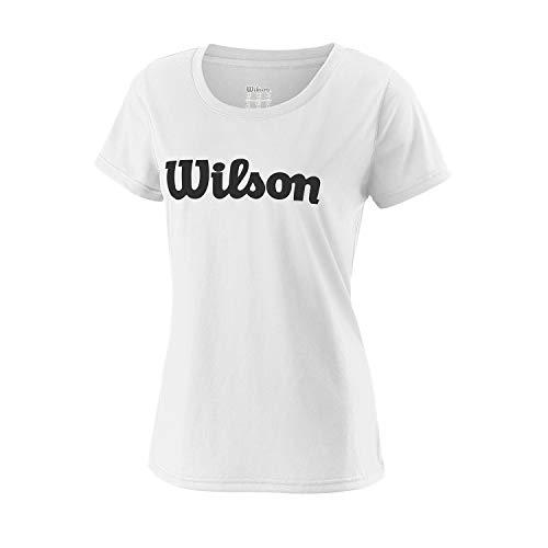 Wilson Femme, T-Shirt de Tennis à Manches Courtes, W UWII SCRIPT TECH TEE, Polyester, Blanc/Noir, Taille M, WRA770506