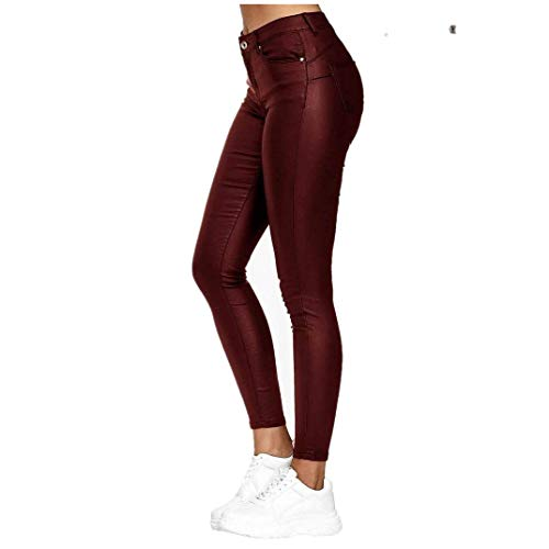 GUKOO Donna Pu Leggings Pelle Elastico Skinny Pantaloni,Pelle Nero Vita Alta Sexy Elastico Skinny Ecopelle Pantaloni Donna Leggings,Donna Ecopelle a Vita Alta Leggings