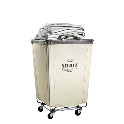 Seville Classics Commercial Heavy-Duty Canvas Laundry Hamper with Wheels, 18.1'...