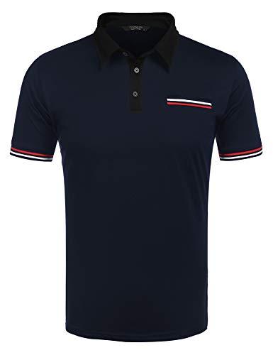 COOFANDY Herren Poloshirt Kurzarm Polohemd Regular Fit Basic Polo Sommer Einfarbig Tshirt Freizeit Polo Shirt