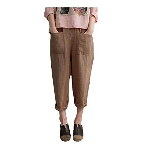 NP Pantalones de lino para mujer, de algodón, elásticos, cintura alta, diseño de palacio