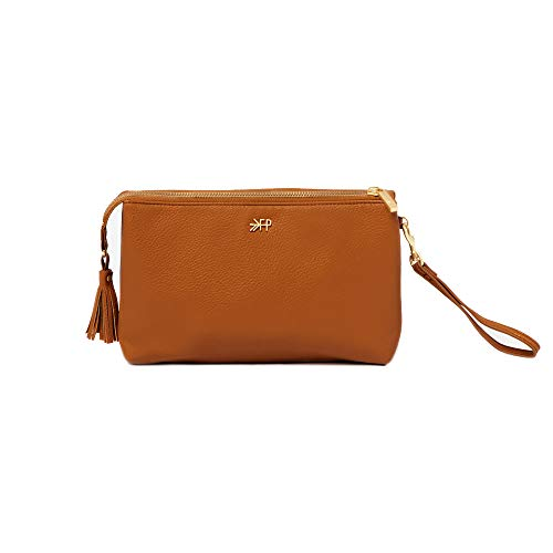 Freshly Picked - Classic Zip Pouch - Diaper Bag Accessory - Vegan Leather Clutch Wallet - Cognac Brown