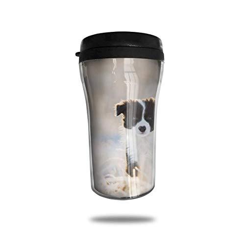 Taza de viaje de acero inoxidable aislada al vacío, taza de café, taza de viaje,Animal Perro Blanco Negro