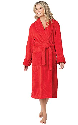 PajamaGram Womens Fleece Robe Comfy - Robes for Women, Red, X-Small/Small (2-6)