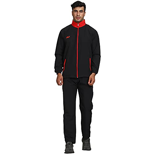 AVI Mens Stylish NS Lycra Ultra Strechable Sports Track Suit.Sports Suit for Men Solid Pattern, Collar Jacket, Full Sleeves, with Chain, Length Pant Gym Wear