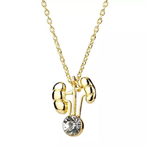 RTEAQ Schönes Halsketten Schmuck Mode Organ Halskette Gold Farbe Kristall Anhänger Halskette Lange Kette Zubehör Für Frauen Männer Geburtstag Party Geschenk