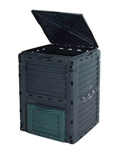 Spetebo Kunststoff Kompost Behälter 300 Liter schwarz - 83x61x61 cm - Garten Kompostierer Thermo Komposter wetterfest