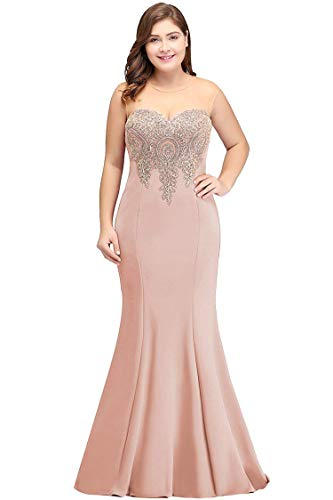 Women's Lace Halter Fishtail Evening Dress Prom Dress Long,10,Nude Pink