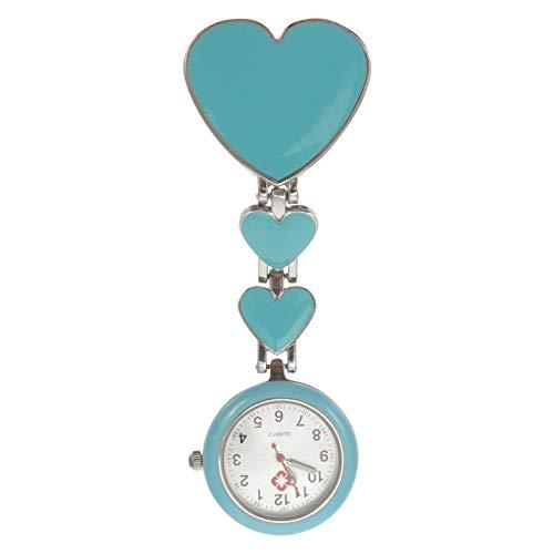 ibasenice Amor en Forma de Corazón Relojes de Enfermera Impermeable Clip- on Colgante Fob Relojes Luminosos de Solapa Relojes de Bolsillo Estirables para Enfermeras Médicos Azul