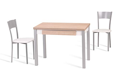Portus Conjunto Acácia - 1 Mesa Extensible 100(150) x60 melamina Natural Jazz + 2 sillas Blanco