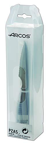 Arcos Cuchillos de Mesa - Juego de Cuchillos Chuleteros 6 Piezas (6 Cuchillos) - Monoblock de una Pieza de Acero Inoxidable 110 mm - Color Plata