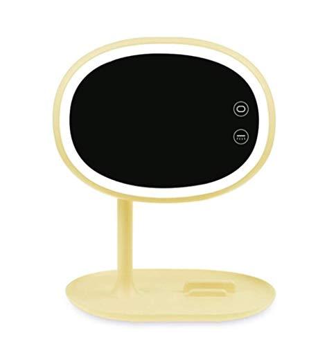 Espejo de maquillaje de espejo de vanidad europeo portátil LED con luz plegable espejo de maquillaje natural interruptor de teléfono táctil Tarjeta de teléfono tragamonedas bandeja para el viaje en ca