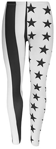 Feelinko Abgefahrene Motiv-Leggings mit All Over Print Fitness Sport Yoga Running Tights Stretch One Size Schwarz Weiß USA Sterne