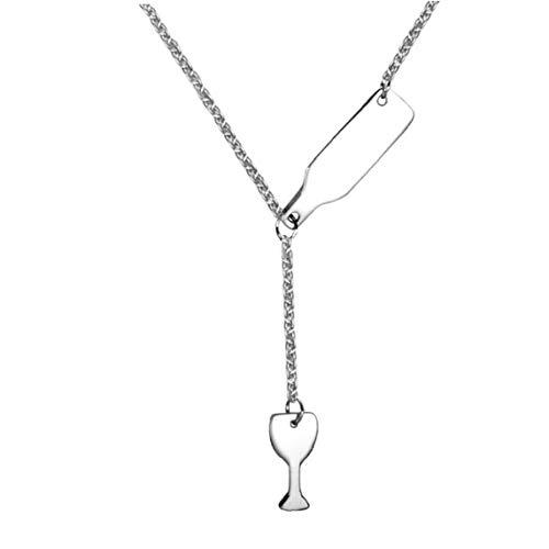 Angoter Wein-Glas-Flaschen-hängende Halskette Für Frauen-mädchen-Edelstahl-liebes-Wein Prost Halskette (Stahl Farbe)