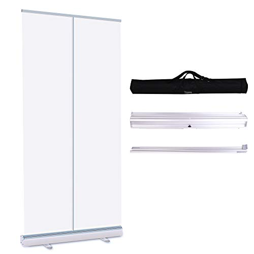 Floor Standing Sneeze Guard, Roll up Banner Portable Pull-out 78.74'X33.46' with Protective Screen Shield for Office, School and Stores