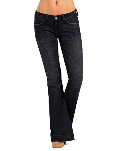 Rock & Roll Cowgirl Women's Dark Wash Low Rise Trouser Western Jeans, 34 x 30