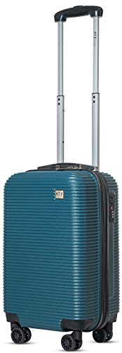 21' Super Lightweight Durable Hard Shell ABS Carry On Cabin Hand Luggage Suitcases Travel Bag with 4 Wheels & Built-in 3 Digit Combination Lock for EasyJet, BA, Jet2 (21' Carry-on, Teal 119)