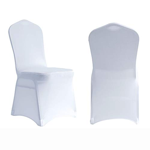 ManMengJi 20 PCS White Stretch Spandex Chair Slipcovers, Dining Room Chair Covers Universal Stretch Chair Slipcovers Protector for Wedding Banquet and Party (White)