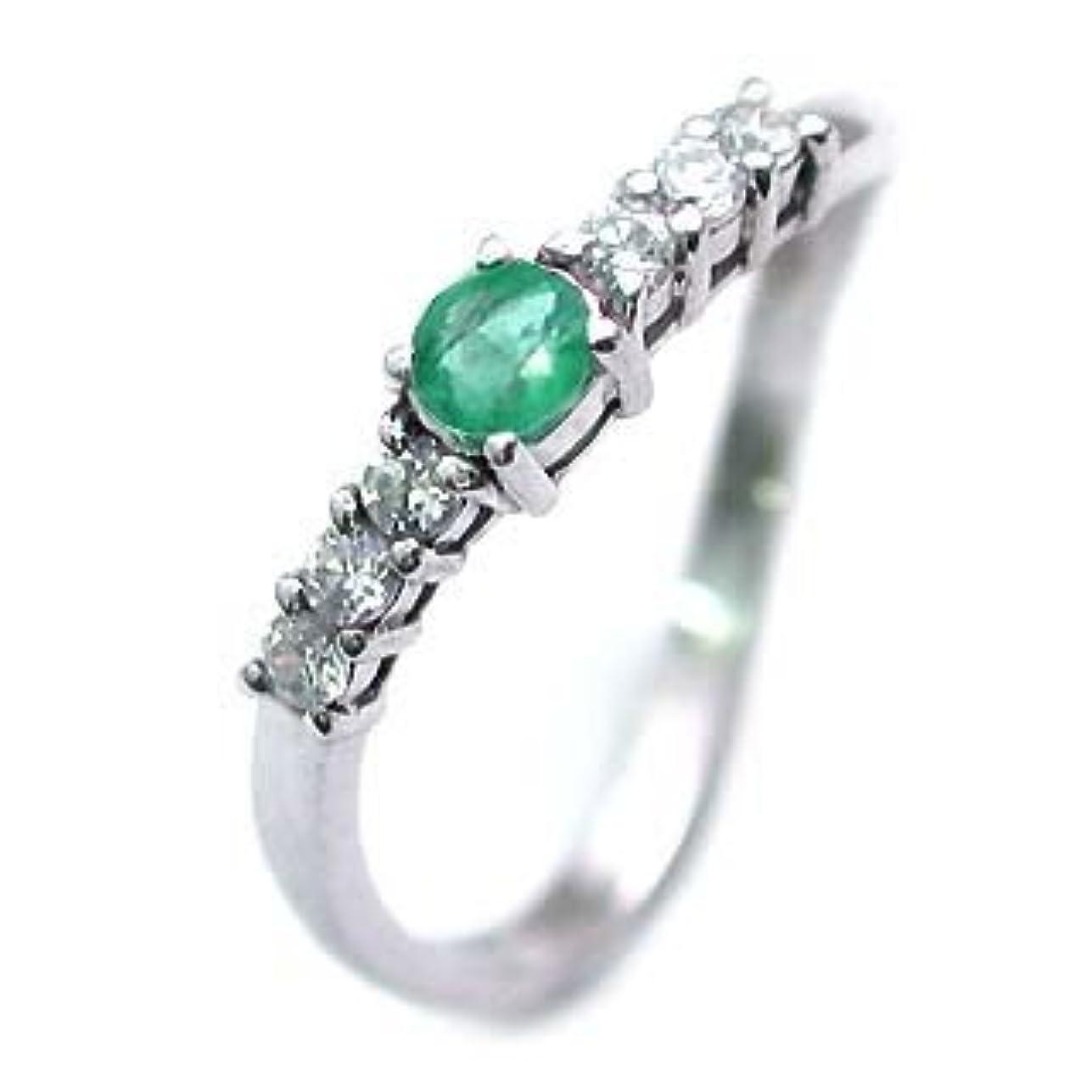 アーサーのスコアブレーク(5月誕生石) プラチナ エメラルド?ダイヤモンドリング #15