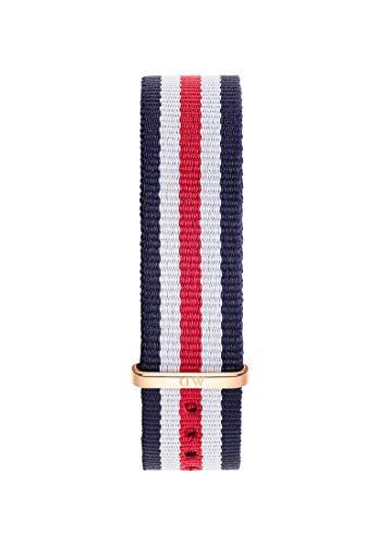 Daniel Wellington Classic Canterbury Cinturino Unisex Adulto, 18mm, in NATO, Blu/Bianco/Rosso/Oro Rosato