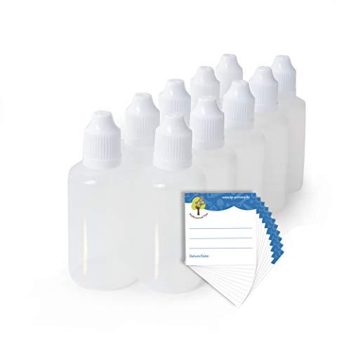 ProfessionalTree 10 x 50 ml Tropfflaschen und 10 Etiketten - Leere Quetschflasche zur Dosierung und Aufbewahrung von E-Liquid - Tropfflasche zum Mischen von Nikotin Shot