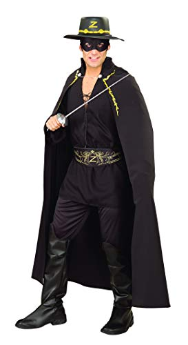 Rubie's Men's Zorro Adult Deluxe Cape, Black, One Size
