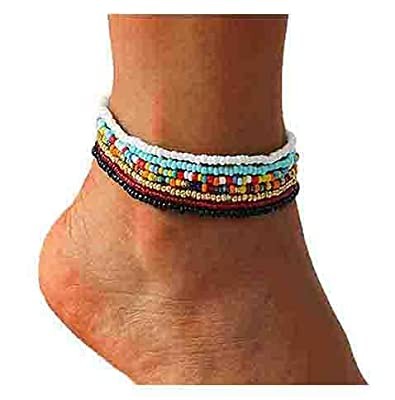 VFlowee Boho Handmade Beads African Anklets Colorful Women Stretch Ankle Bracelets Beaded Bracelet Elastic Foot and Hand Chain Jewelry (7PCS)
