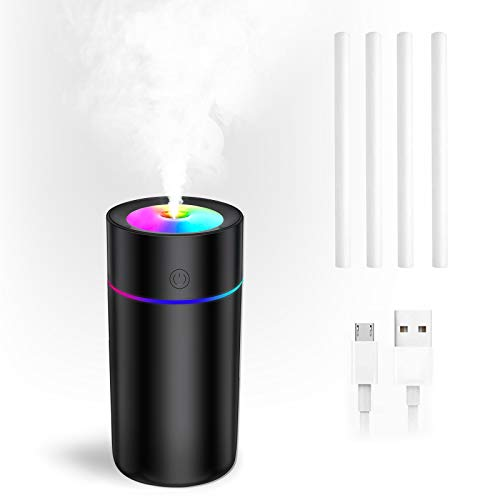Portable Car Humidifier-320ml Mini Humidifier with 7-Color LED Night Light,USB Desk Humidifiers for Baby Bedroom Travel Office Home,2 Spray Modes, Auto Shut-Off,Perfect Christmas Gift(Black)