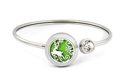 VENDAB Christmas Bracelet Holiday Stainless Steel Magnetic Aromatherapy Essential Oils Diffuser Bangle Jewelry: Calming Relaxation Great for Women, Girls, Christmas, Reindeer